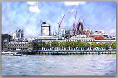 city of london with red cranes from south bank
