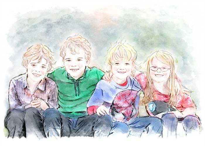 watercolour group portrait painting